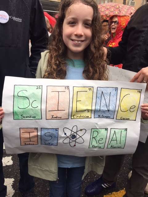 A young scientist represented at the March for Science, NYC
