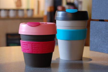 A cute, eco-friendly reusable coffee cup