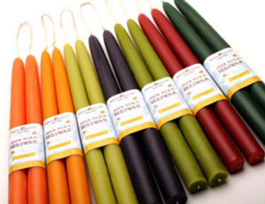Saturated colored tapers from beehivecandles.com